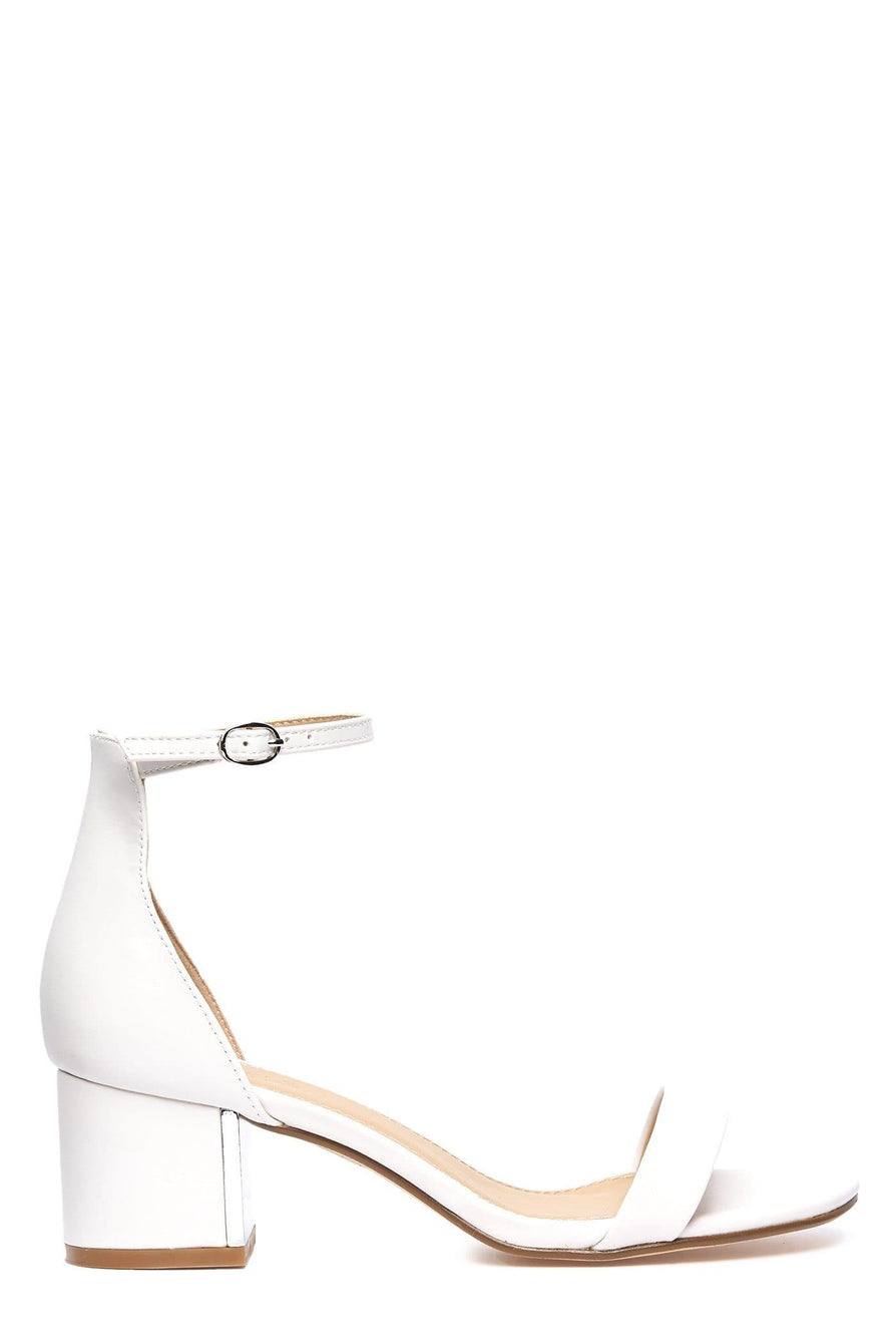 Gold Trim Anklestrap Sandal in White Matt