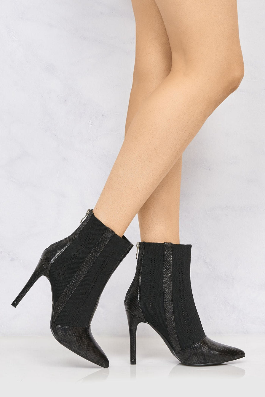 Pointed Toe Knitted Heeled Ankle Boot In Black Snake