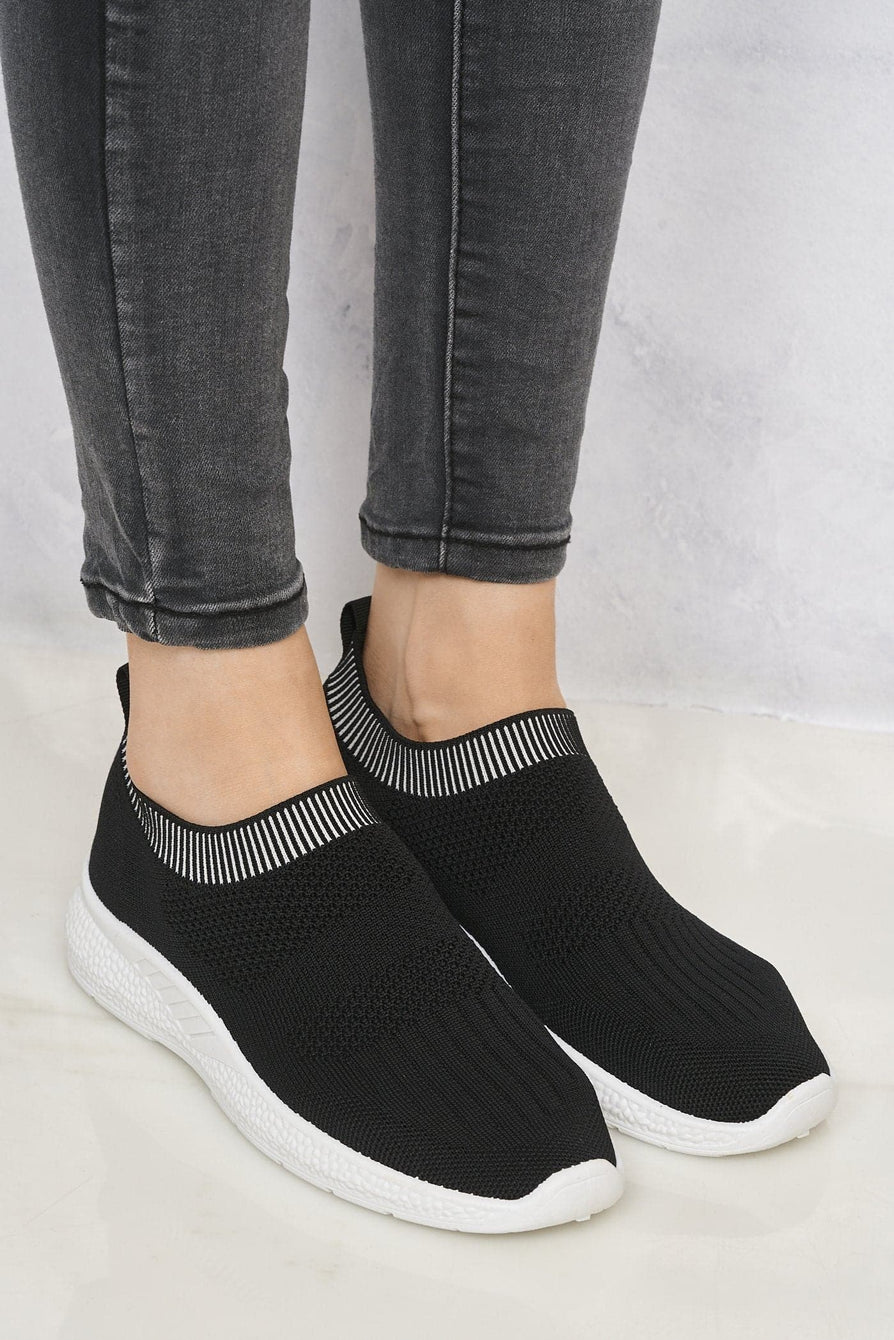 Shaughna Slip On Knitted Trainer in Black