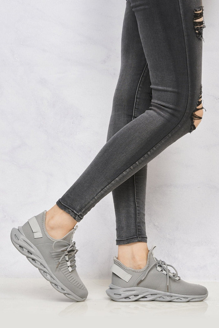 Rascasse Knit Stretch Lace Up Trainer in Grey Trainers Miss Diva Grey 3
