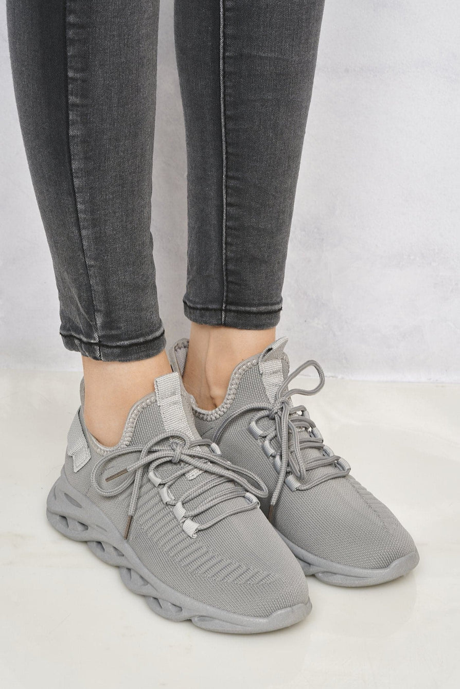 Rascasse Knit Stretch Lace Up Trainer in Grey Trainers Miss Diva