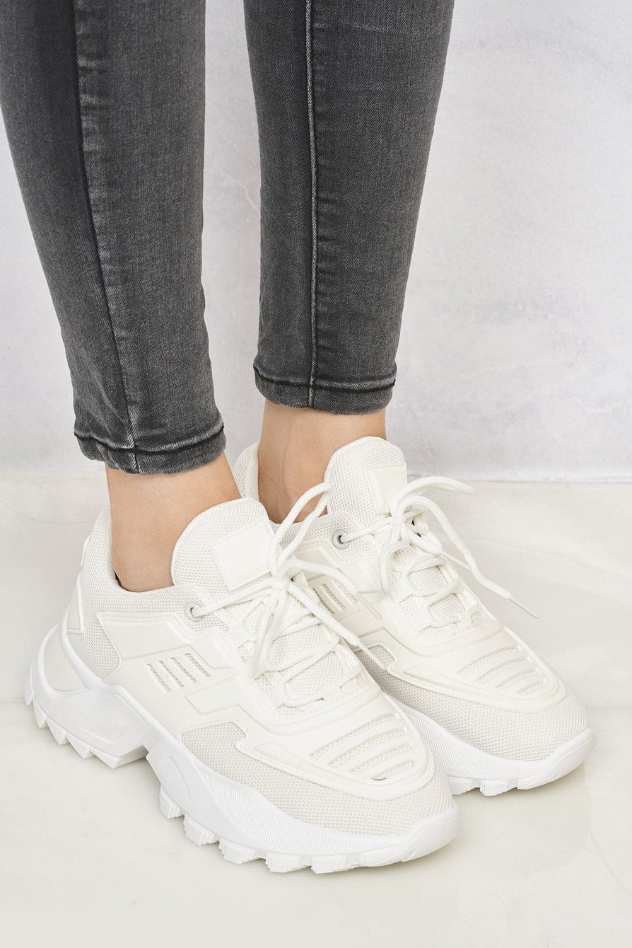 Antonia Platform Lace Up Trainer in White