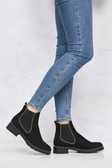 Emma Stud Detailing Sole Ankle Boot in Black Suede