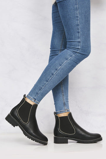 Emma Stud Detailing Sole Ankle Boot in Black Matt