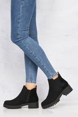 Solo Elastic Cleated Sole Ankle Boot in Black Suede