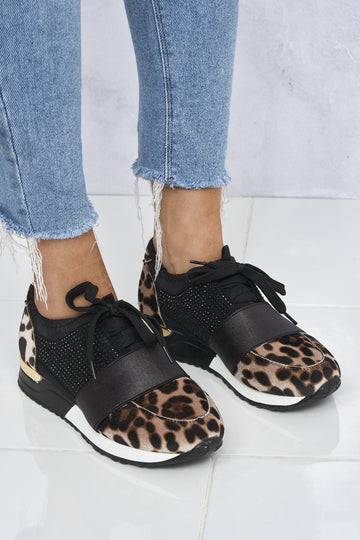 Rafa Stretch Band Diamante Lace Up Trainer In Leopard