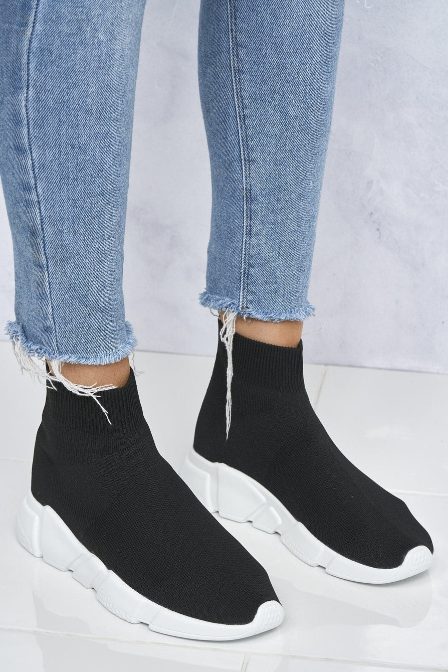 Saint Knitted Slip On Sock Boot In Black