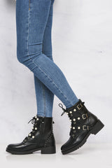 Pearl And Buckle Biker Boot in Black