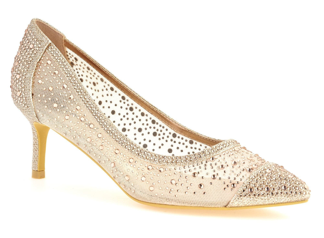 Sienna Pointed Toe Diamante Mesh Court Shoe in Champagne