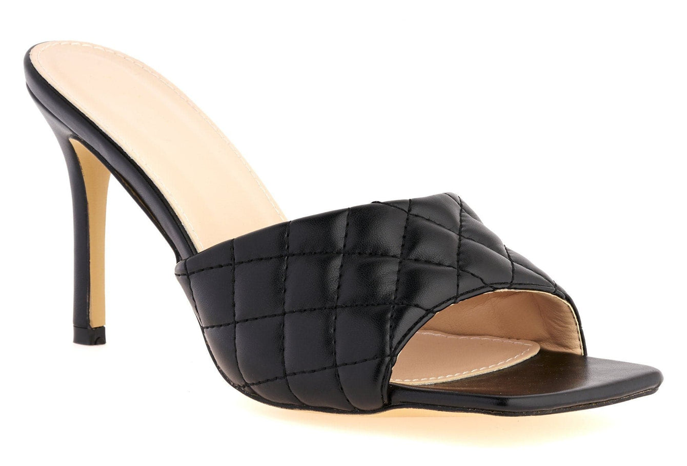 Marian Square Toe Quilted Stiletto Heel Mule in Black