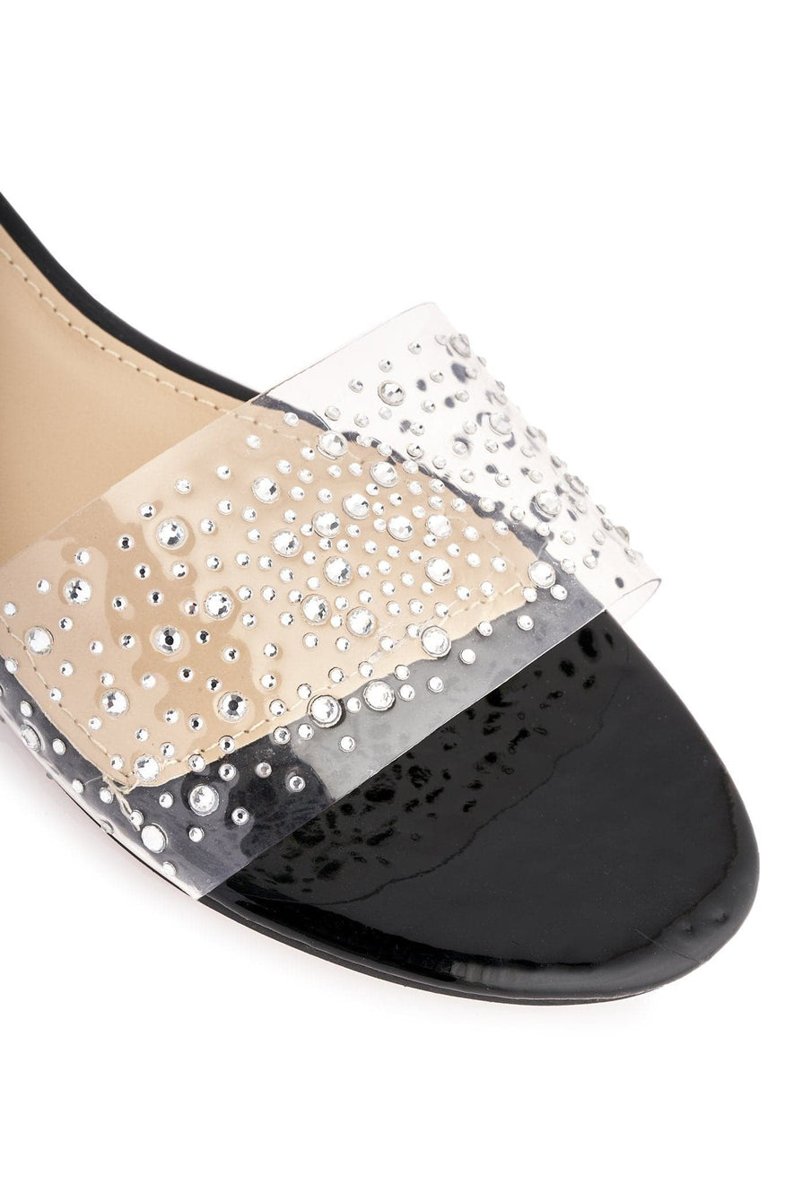 Mexico Sparkle Sliders In Black Flats Miss Diva