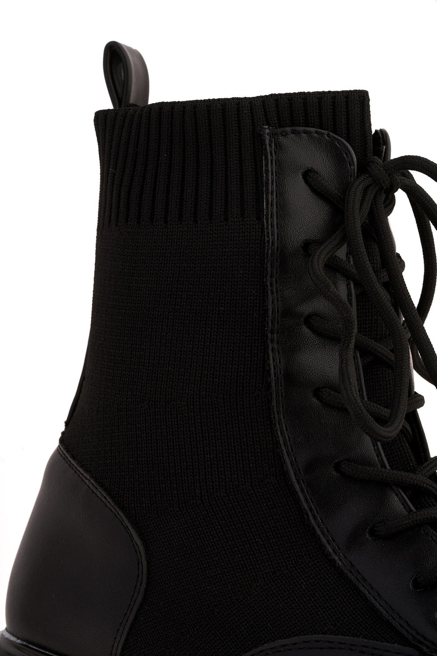 Edie Chunky Sole Sock Ankle Boot in Black
