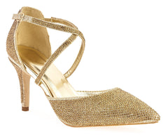 Christine Diamante High Heel Crossover Ankle Strap Closed Toe In Gold