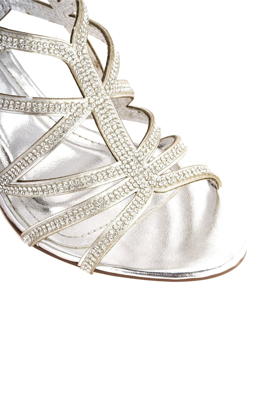 Minnie Diamante Crossover Straps Anklestrap Sandal in Silver
