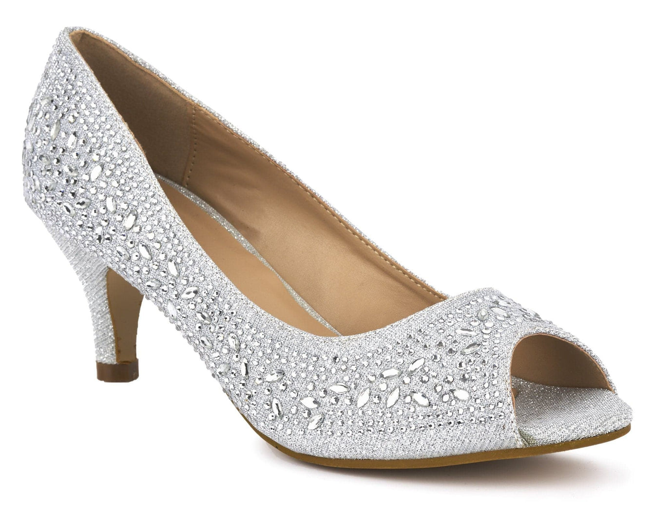 Violetta kitten heel diamante peep toe court shoe in Silver
