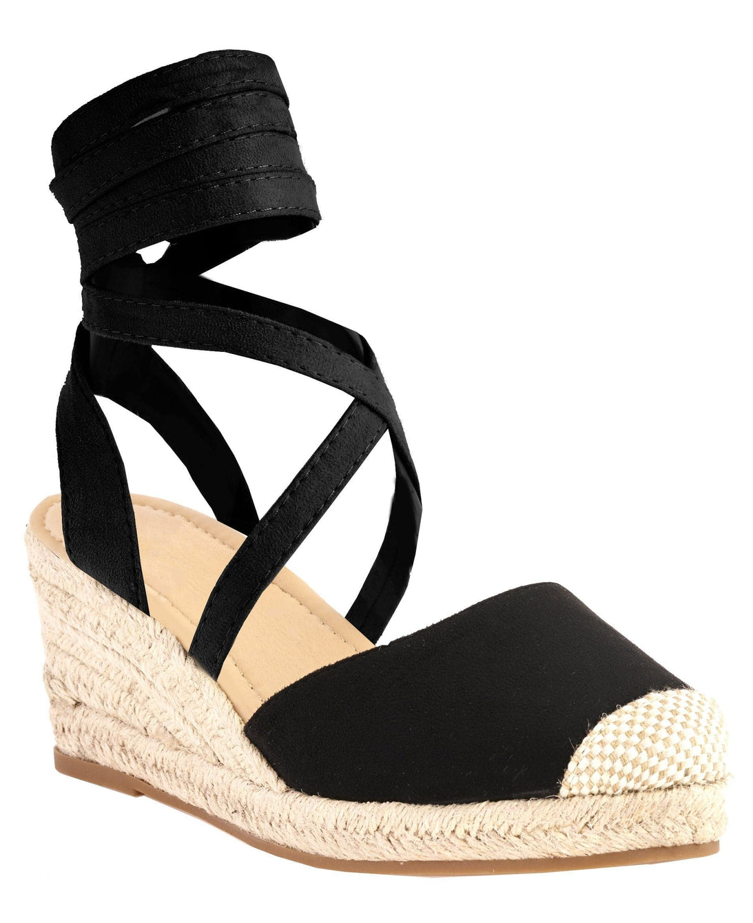 Maria Closed Toe Tie Up Espadrille Wedge in Black