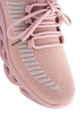 Rascasse Knit Stretch Lace Up Trainer in Pink