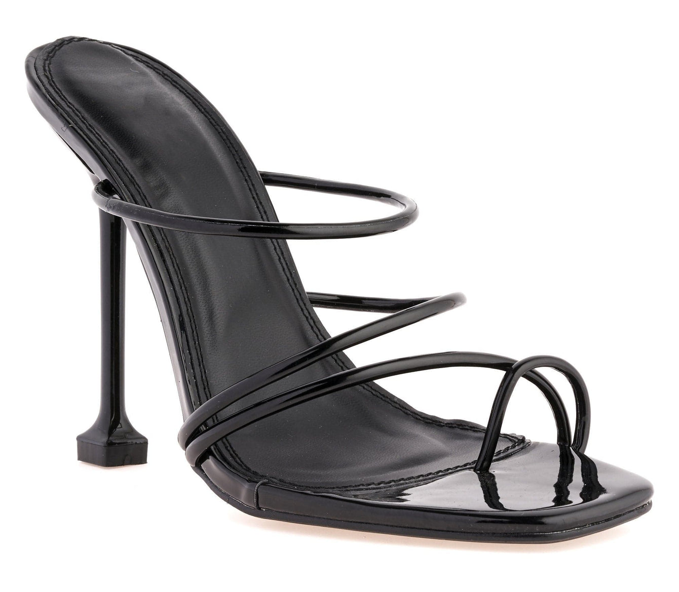 Mariana Toe Ring Strappy Stiletto Mule in Black