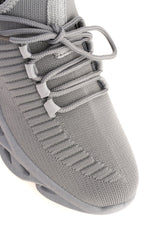 Rascasse Knit Stretch Lace Up Trainer in Grey