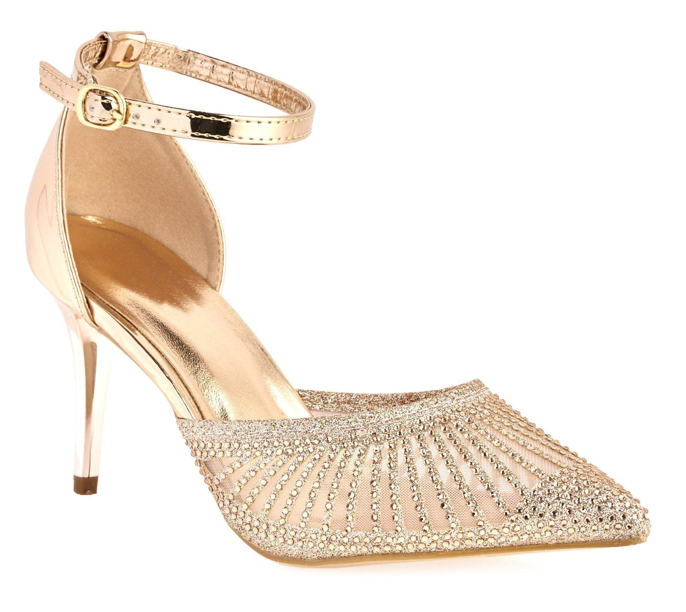 Singapore Mesh Diamante Ankle Strap Closed Toe High Metallic Heel In Champagne