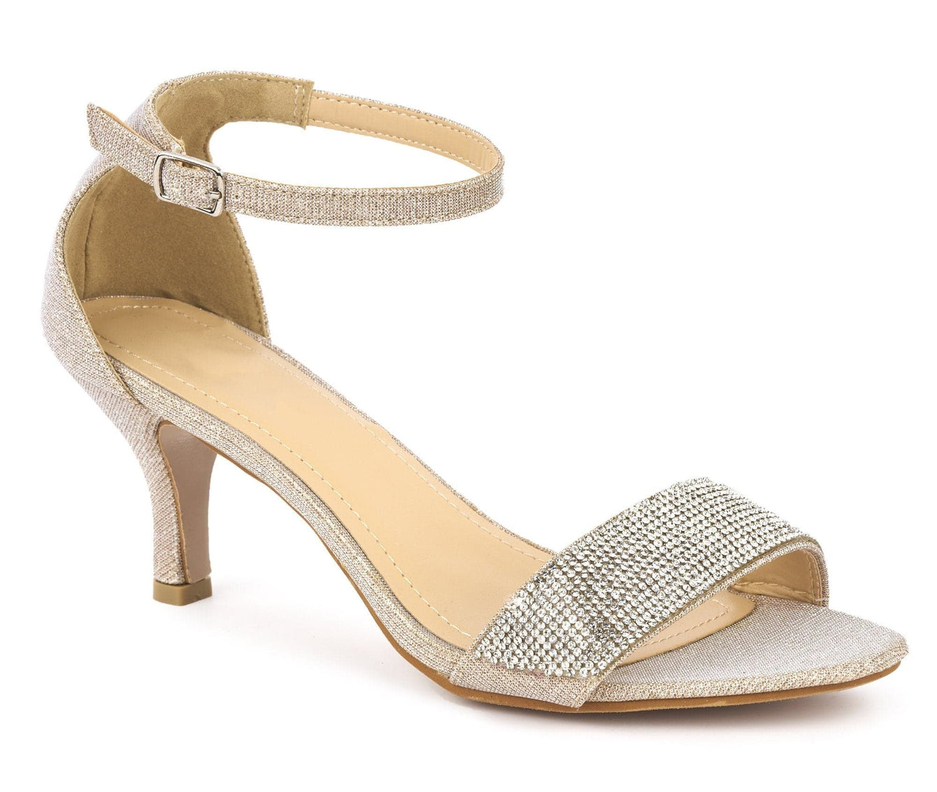 Medium Heel Ankle Strap Sandal in Beige