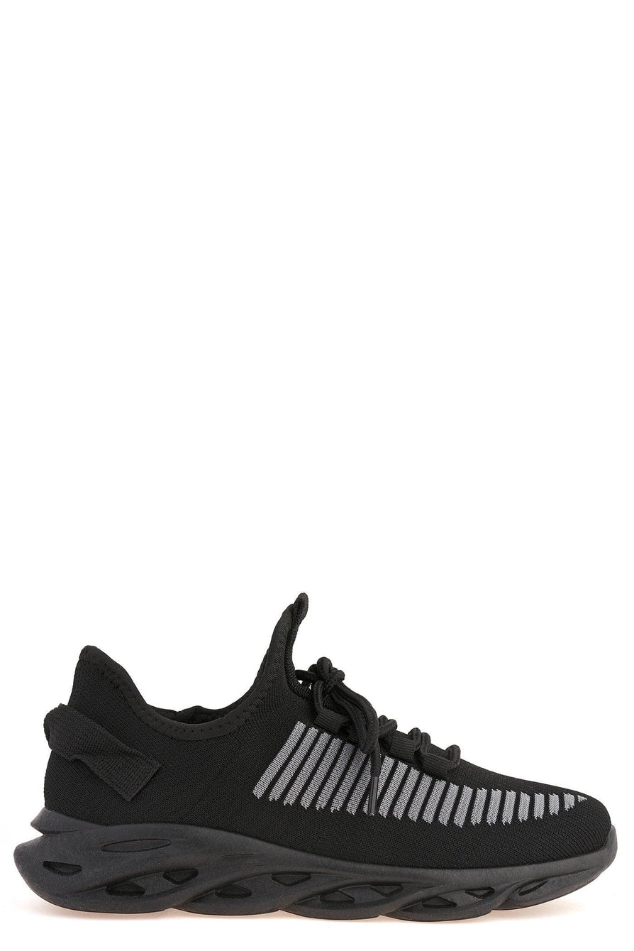 Rascasse Knit Stretch Lace Up Trainer in Black Trainers Miss Diva