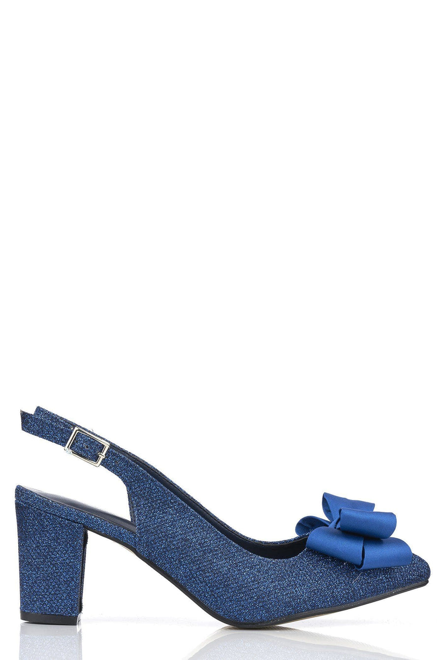 Kirra Slingback With Bow Trim Court in Navy Glitter