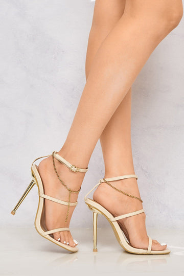 Liliyah Metal HH 3Strap Gold Chain Sandal in Cream