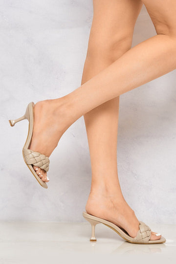 Rosaline Low Heel Knotted Strap Mule in Nude