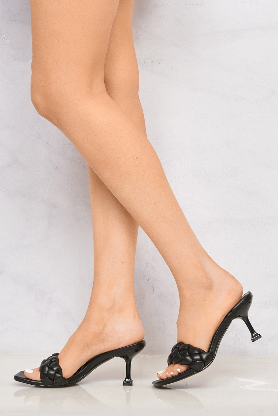 Rosaline Low Heel Knotted Strap Mule in Black Heels Miss Diva