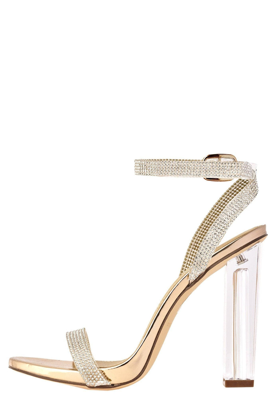 Marilyn Diamante Block Heels in Rose Gold