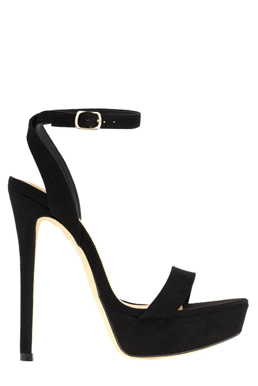 On The Rise Barely There Platform Anklestrap Sandal in Black Suede Heels Miss Diva