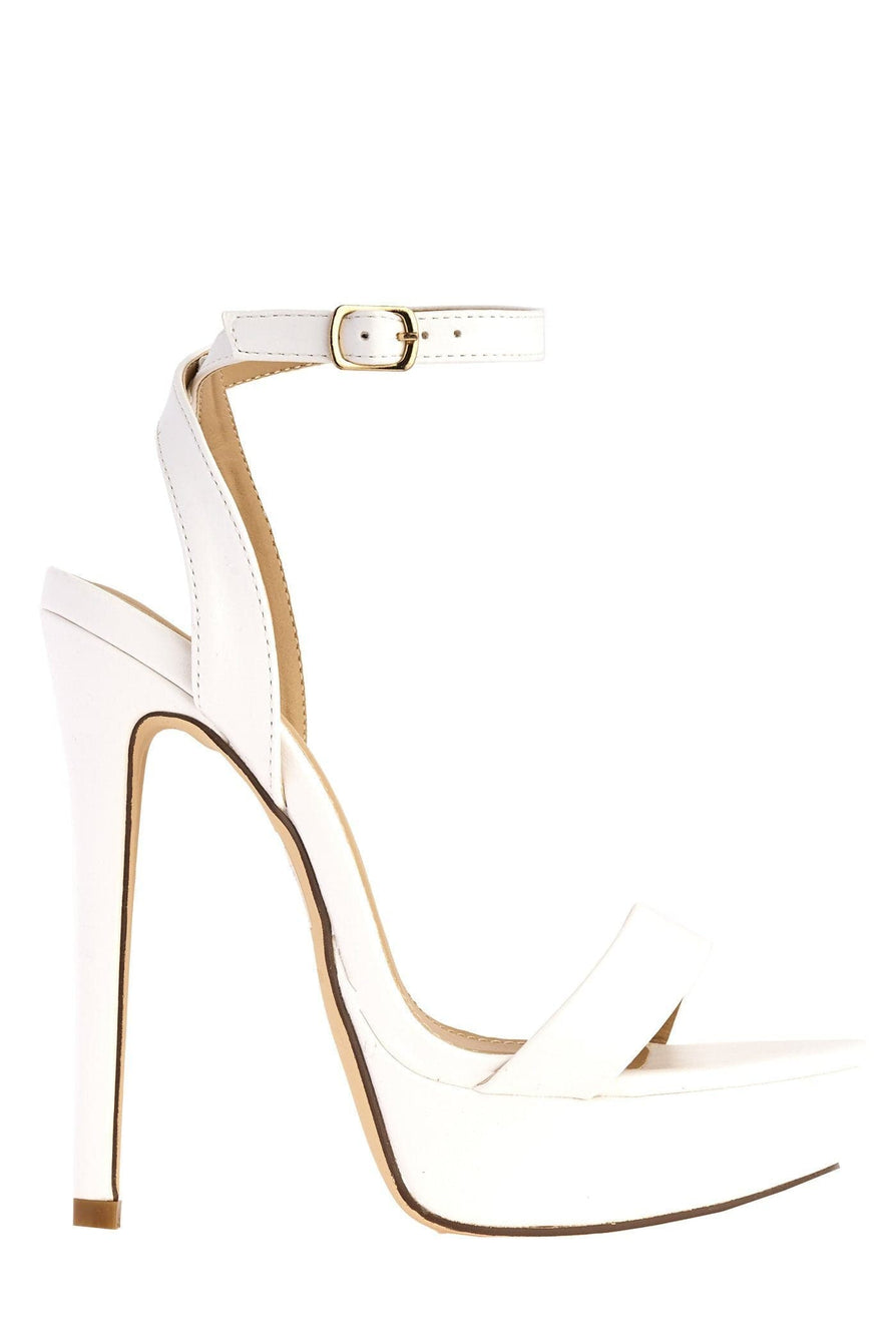 On The Rise Barely There Platform Anklestrap Sandal in White Matt