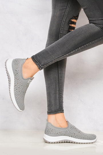 Kennie Diamante Stud Knit Slip On Trainer in Grey