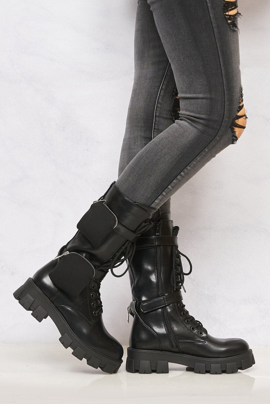 Ace 2 Pocket Velcro Lace Up Boot in Black