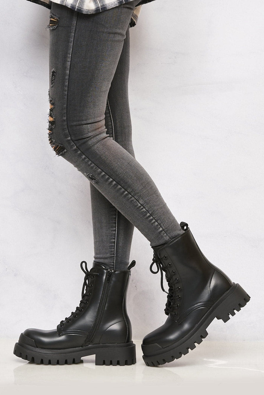 April Lace Up Biker Boot in Black Matt Boots Miss Diva