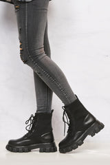 Edie Chunky Sole Sock Ankle Boot in Black Boots Miss Diva