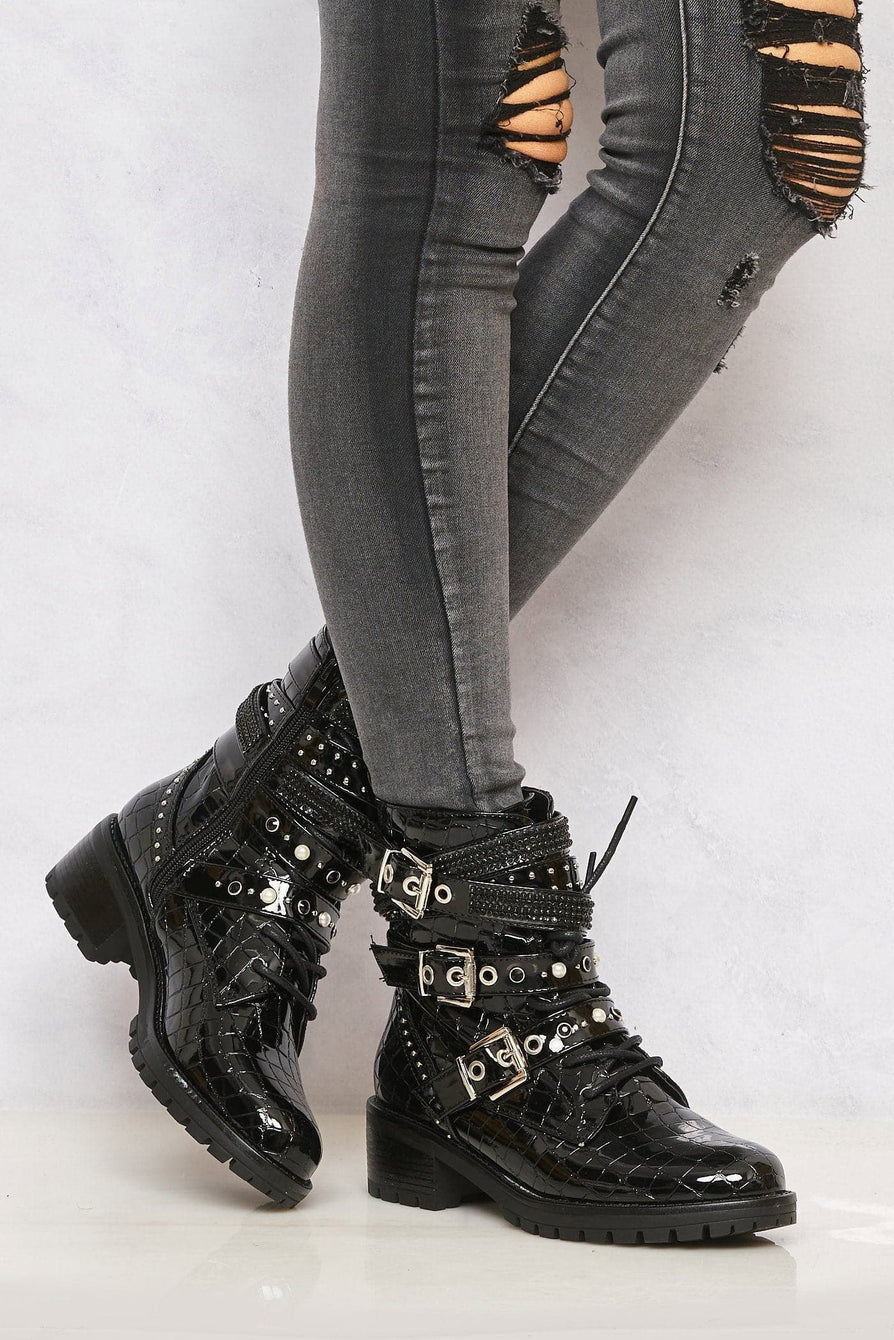 Hailey Diamante Crossover Laceup Biker Boot in Black Croc Boots Miss Diva