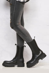 Alanna Elastic Panel Slip On Boot in Black Matt Boots Miss Diva
