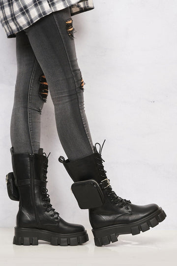 Sila Zip Pocket Laceup Biker Boot in Black Matt