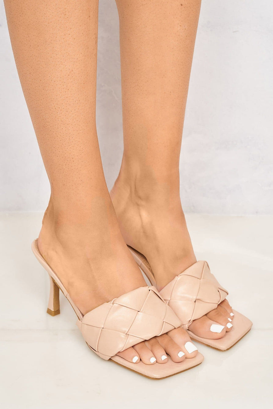 Lopez Plait Detail Front Mid Heel Open Toe Mule in Blush Heels Miss Diva Blush 3