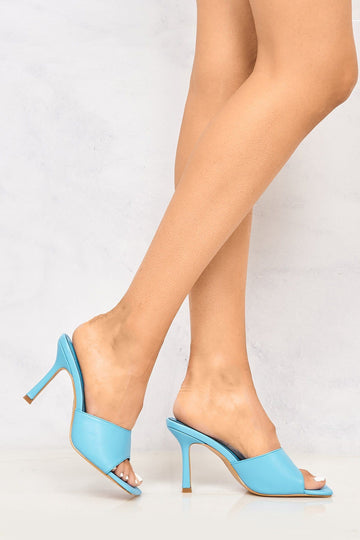 Nero Square Toe Plain Band Mule in Blue
