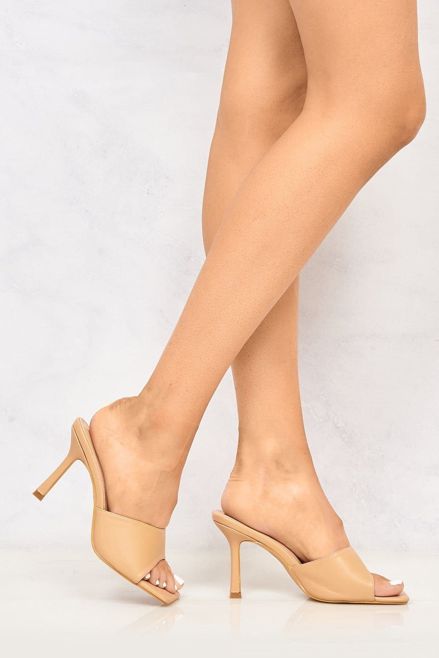 Nero Square Toe Plain Band Mule in Beige Heels Miss Diva
