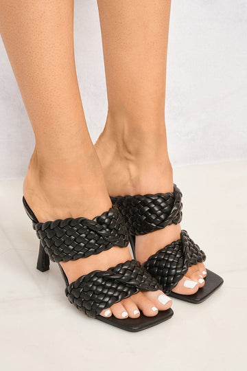 Dixie Crossover 2 Plait Strap Mule in Black Heels Miss Diva Black 3