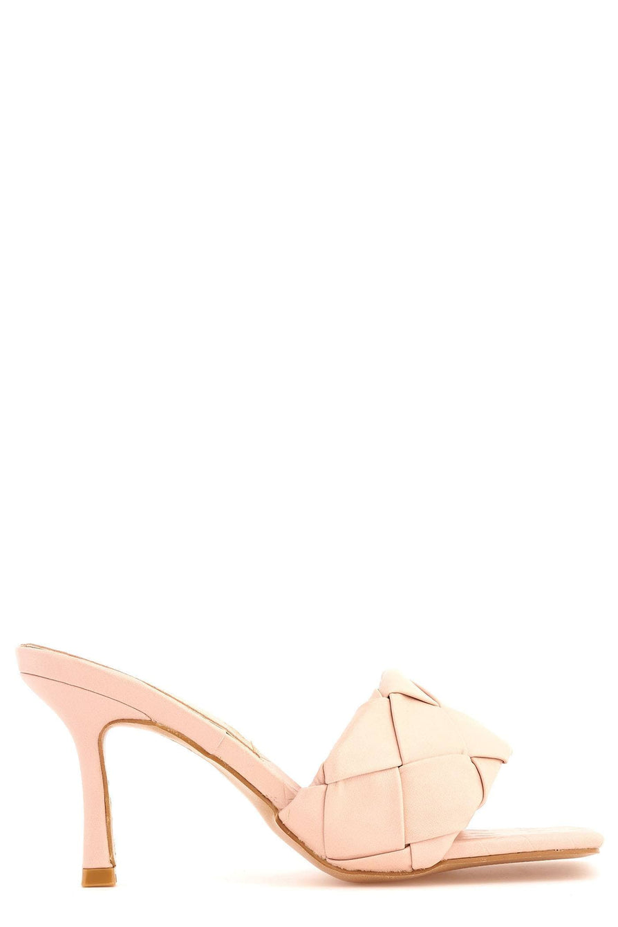 Lopez Plait Detail Front Mid Heel Open Toe Mule in Blush Heels Miss Diva