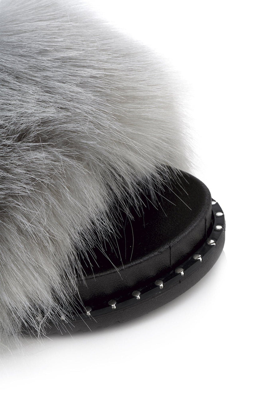 Bubbly Studded Trim Sole Fur Slider in Grey