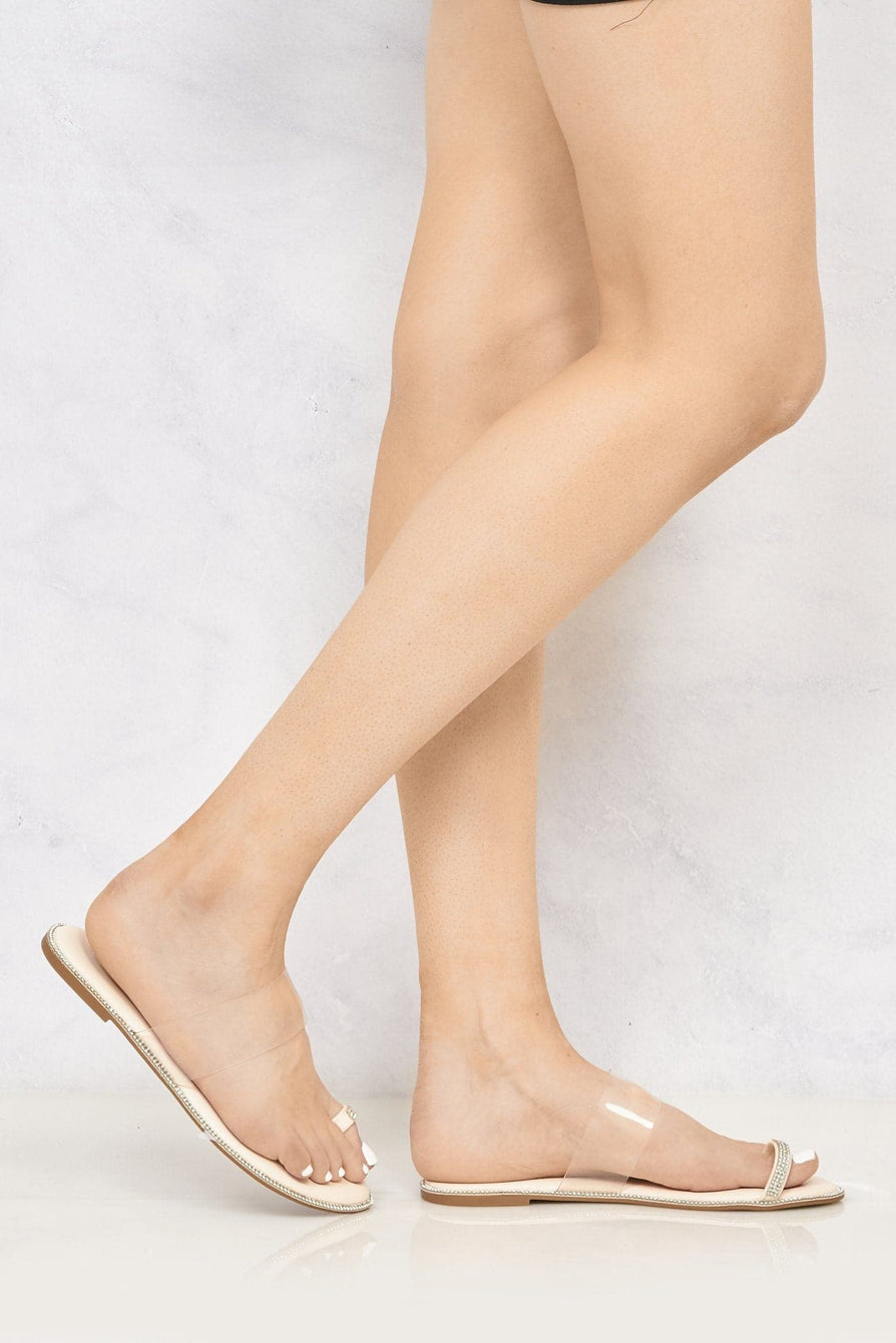 Majorca Diamante Edge Clear Slider With Toe Ring in Nude