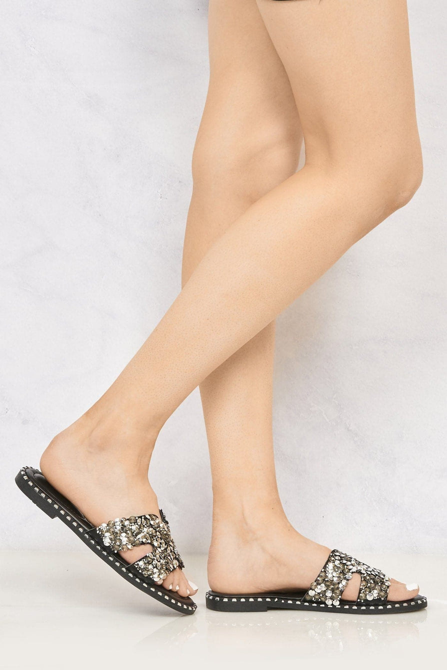 Santorini Gem Stone Cut Out Open Toe Sliders With Stud Trim Sole in Black Flats Miss Diva Black 4