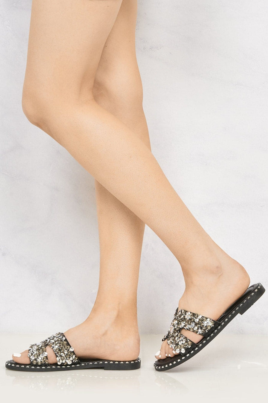 Santorini Gem Stone Cut Out Open Toe Sliders With Stud Trim Sole in Black Flats Miss Diva Black 7