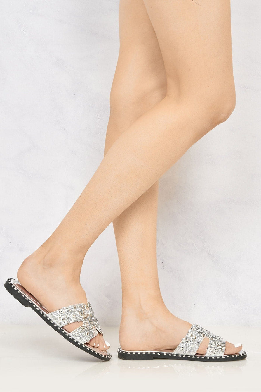 Santorini Gem Stone Cut Out Open Toe Sliders With Stud Trim Sole in Silver Flats Miss Diva Silver 6